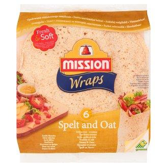 Mission Wraps Spelt and Oat Wheat Flour Tortilla 370 g (6 Pieces)