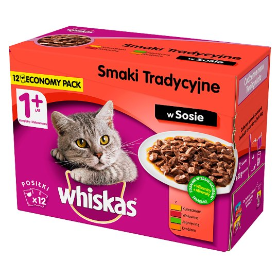 Whiskas 1+ Years Traditional Flavors in Sauce Complete Cat Food 1.2 kg (12 x 100 g)