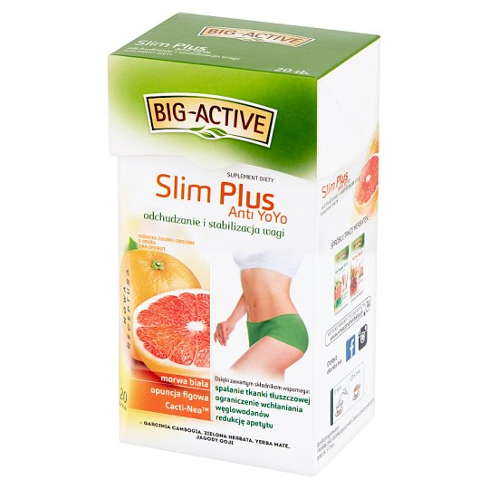 Big-Active Slim Plus Anti YoYo Fruit-Herbal Tea Dietary Supplement 40 g (20 x 2 g)