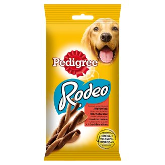 Pedigree Rodeo Supplementary Dog Food Snacks with Beef 122 g (7 Pieces)
