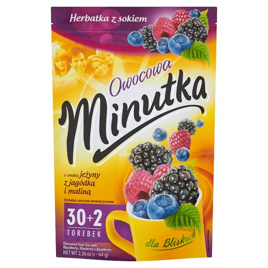 Minutka Owocowa Flavoured Fruit Tea with Blackberry Blueberry & Raspberry  64 g (32 Tea Bags)