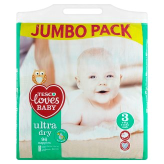 Tesco Loves Baby Ultra Dry Nappies 3 Midi 4-9 kg 96 Pieces