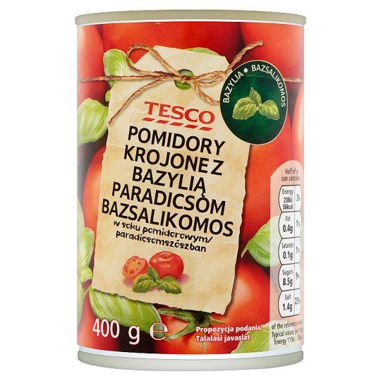 Tesco Pomidory krojone z bazylią w soku pomidorowym 400 g
