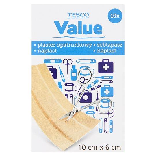 Tesco Value Adhesive Dressing Strip 10 cm x 6 cm 10 Pieces