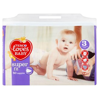 Tesco Loves Baby Super Fit 3 Midi 4-9 kg Nappies 50 Pieces