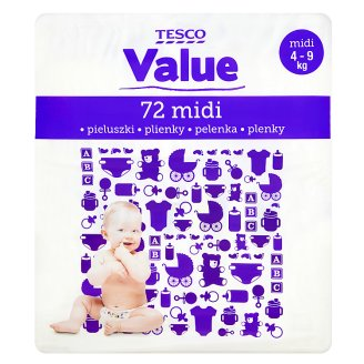 Tesco Value Baby Nappies Midi 4-9 kg 72 Pieces