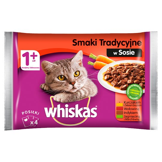 Whiskas 1+ Years Traditional Flavors in Sauce Complete Cat Food 400 g (4 x 100 g)
