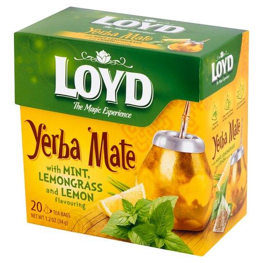 Loyd Yerba Mate Herbata aromatyzowana z miętą i trawą cytrynową o smaku cytryny 34 g (20 torebek)