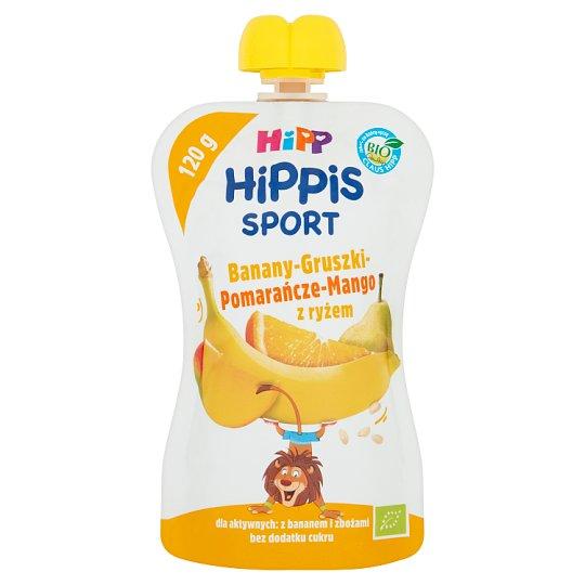 HiPP BIO HiPPiS Sport Mus owocowy po 1. roku banany-gruszki-pomarańcze-mango z ryżem 120 g
