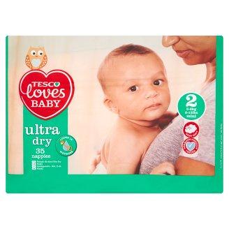 Tesco Loves Baby Ultra Dry Pieluszki jednorazowe dla dzieci 2 mini 3-6 kg 35 sztuk