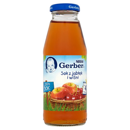 Gerber 100% Sok z jabłek i wiśni po 4 miesiącu 300 ml