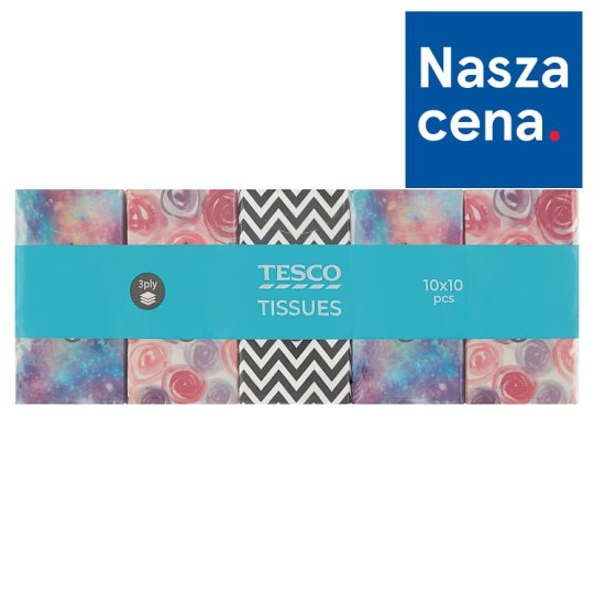 Tesco Chusteczki higieniczne 3-warstwowe 10 x 10 sztuk