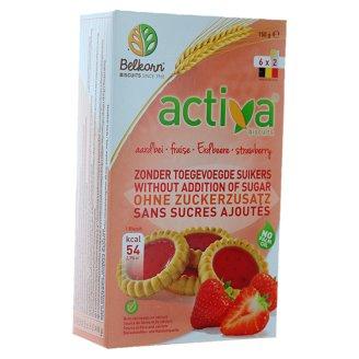 Activa Ciastka truskawkowe bez dodatku cukrów 150 g (6 x 2 sztuki)