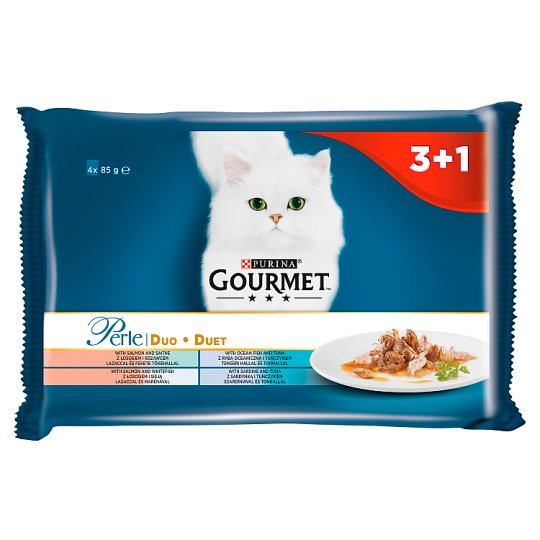 Gourmet Perle Collection Fish Duo Food for Cats 340 g (4 x 85 g)