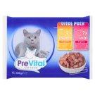 PreVital Vital Pack Karma dla dorosłych kotów z kurczakiem lub cielęciną w sosie 4 x 100 g