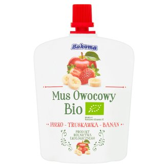 Bakoma Apple-Strawberry-Banana Bio Fruit Mousse 90 g