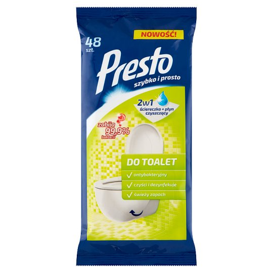 Presto Wet Wipes for Toilet Cleaning and Disinfection 48 Pieces
