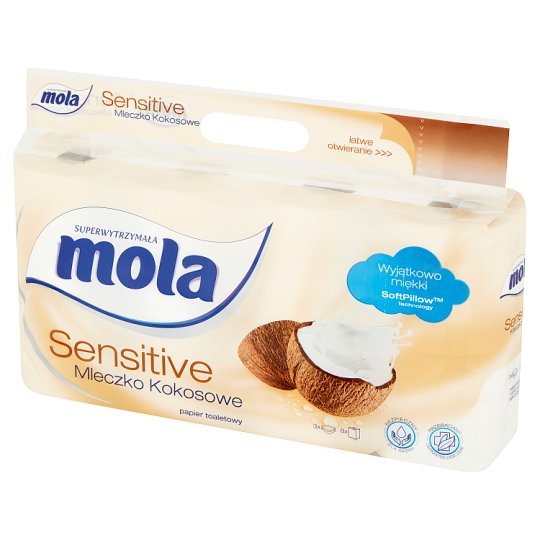 Mola Sensitive Coconut Milk Toilet Paper 8 Rolls