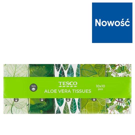 Tesco Chusteczki higieniczne z zapachem Aloe Vera 3-warstwowe 10 x 10 sztuk