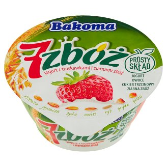 Bakoma 7 zbóż Yoghurt with Strawberry and Cereal Grains 140 g