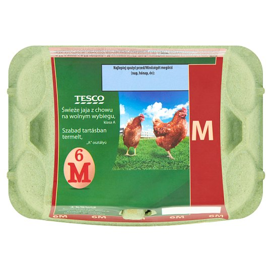 Tesco Free-Range Fresh Eggs M 6 Pieces