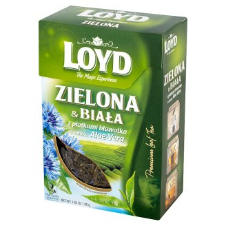 Loyd Herbata zielona i biała z płatkami bławatka o smaku Aloe Vera 80 g
