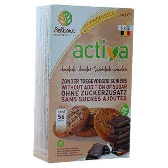 Activa Ciastka pełnoziarniste z kawałkami czekolady bez dodatku cukrów 150 g (6 x 2 sztuki)