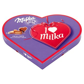 Milka Milk Pralines with Nut and Nougat Cream I Love Milka 137.5 g (25 Pieces)