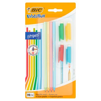 BiC Evolution Stripes Bezdrzewny ołówek grafitowy + nakładka z gumką do ścierania HB