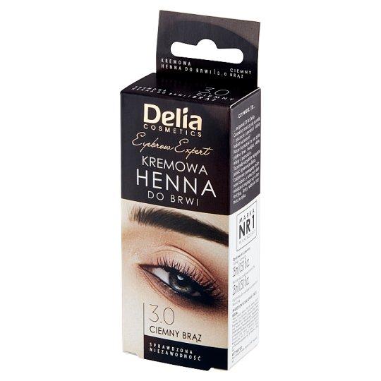 Delia Cosmetics Henna do brwi kremowa 3.0 ciemny brąz