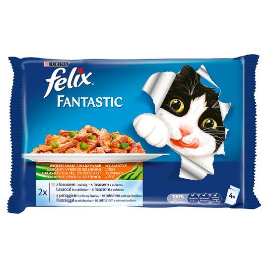 Felix Fantastic Ocean Feast with Vegetables in Jelly Food for Cats 400 g (4 x 100 g)