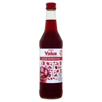 Tesco Value Zaprawa do napojów o smaku malinowym 500 ml