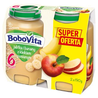 BoboVita Apples and Bananas with Oat Gruel after 6 Months Onwards 2 x 190 g