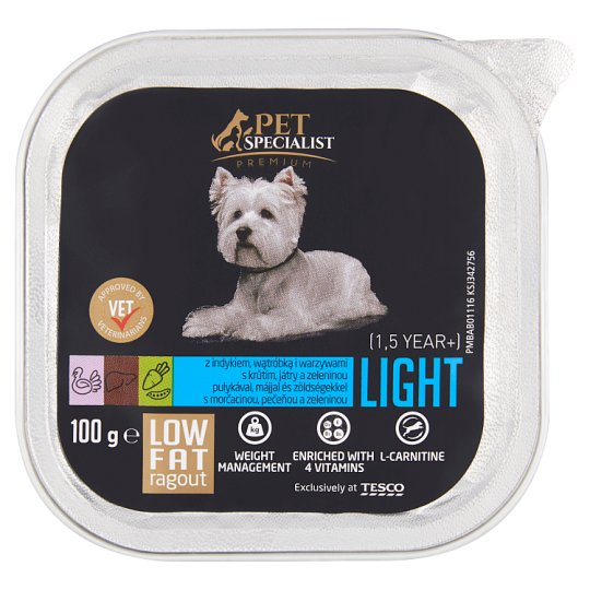 Tesco Pet Specialist Premium Karma dla dorosłych psów ragout z indykiem wątróbką i warzywami 100 g
