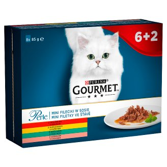 Gourmet Perle Mini Fillets in Gravy Complete Pet Food for Adult Cats 680 g (8 x 85 g)