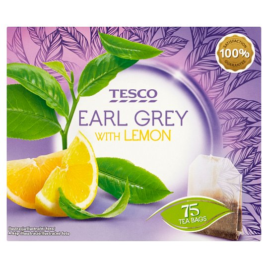 Tesco Herbata czarna Earl Grey o smaku cytrynowym 131,25 g (75 torebek)