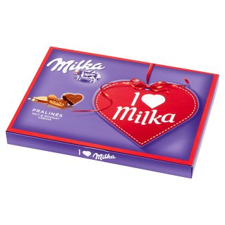 Milka Milk Pralines with Nut and Nougat Cream I Love Milka 110 g (20 Pieces)