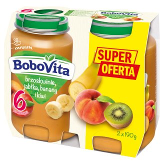BoboVita Peaches Apples Bananas and Kiwi after 6 Months Onwards 2 x 190 g