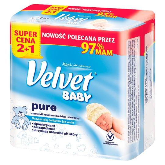 Velvet Baby Pure Chusteczki nawilżane dla dzieci i niemowląt 3 x 64 sztuki