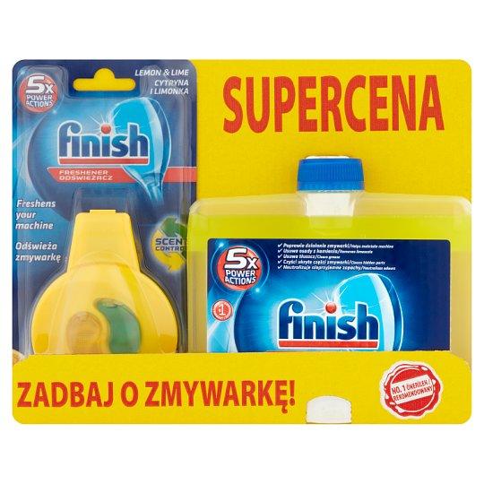 Finish 5x Power Actions Dishwasher Freshener 4 ml and Lemon Dishwasher Cleaner 250 ml