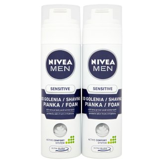 NIVEA MEN Sensitive Pianka do golenia 2 x 200 ml