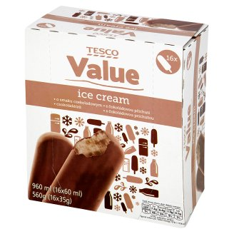 Tesco Value Chocolate Flavoured Ice Cream 960 ml (16 Pieces)