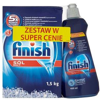 Finish 5x Power Actions Zestaw Sól do zmywarek 1,5 kg i Płyn nabłyszczający 400 ml
