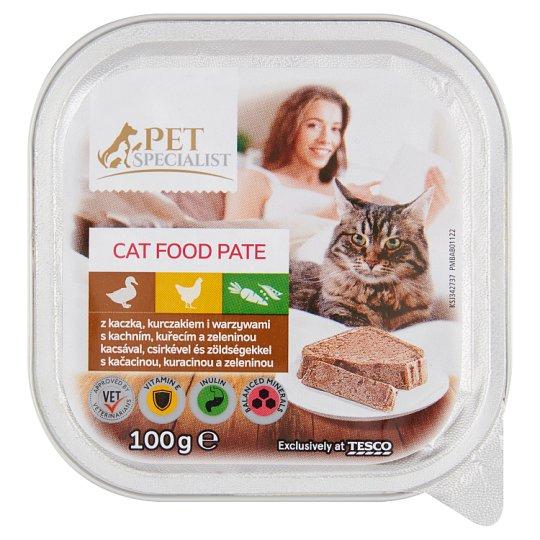 Tesco Pet Specialist Karma dla dorosłych kotów pasztet z kaczką kurczakiem i warzywami 100 g