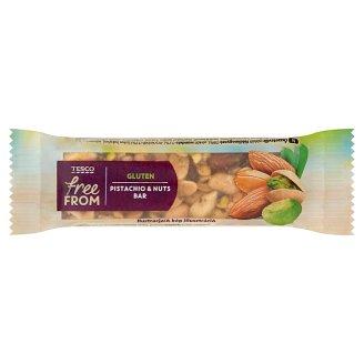 Tesco Free From Baton z prażonych orzeszków ziemnych migdałów i pistacji oblany czekoladą 35 g