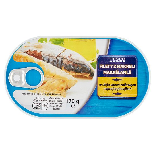 Tesco Mackerel Fillets in Sunflower Oil 170 g