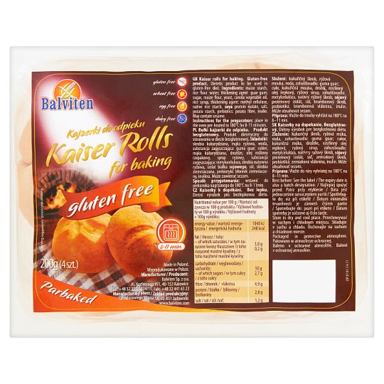 Balviten Kaiser Rolls for Baking 200 g (4 Pieces)