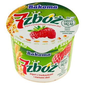 Bakoma 7 zbóż Yoghurt with Strawberries and Cereal Grains 300 g