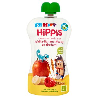HiPP BIO HiPPiS Apples-Bananas-Raspberries with Cereals Fruit Mousse after 6. Month Onwards 100 g