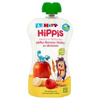 HiPP BIO HiPPiS Jabłka-Banany-Maliny ze zbożami Mus owocowy po 6. miesiącu 100 g